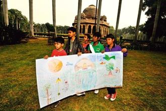 A painting exercise at Bookaroo in the City at Lodhi Gardens, Delhi. Photo: Pradeep Gaur/Mint
